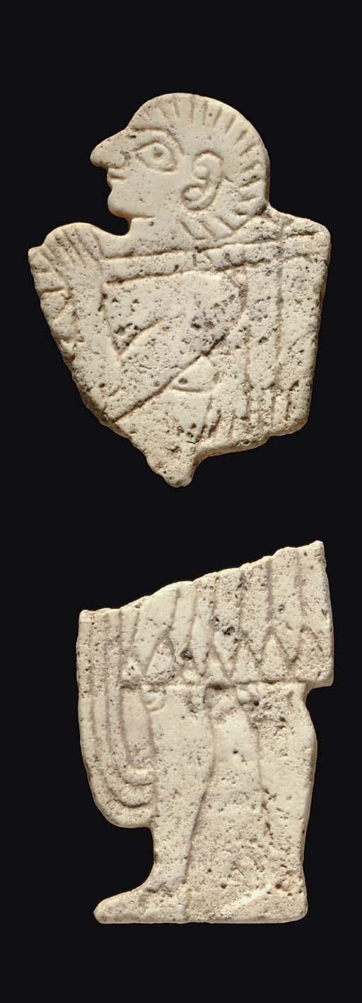 TWO MESOPOTAMIAN LIMESTONE INL