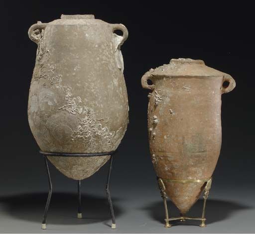 TWO HOLY LAND POTTERY TRANSPOR