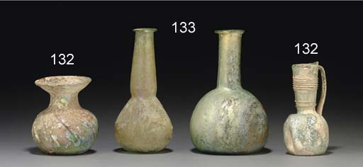TWO ANCIENT GLASS VESSELS