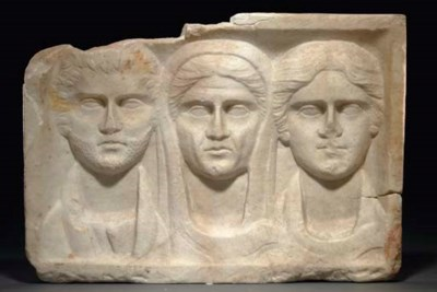 A ROMAN MARBLE FUNERARY RELIEF