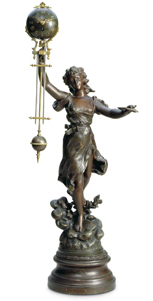 A French patinated spelter mys