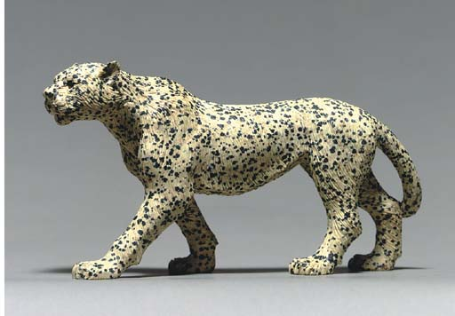 A HARDSTONE LYNX FIGURE, BY AN