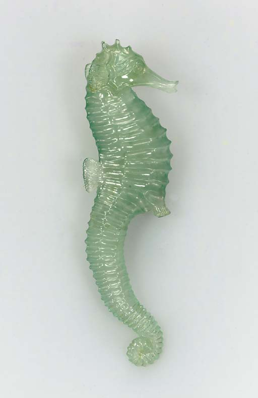 A GREEN BERYL SEAHORSE, BY AND
