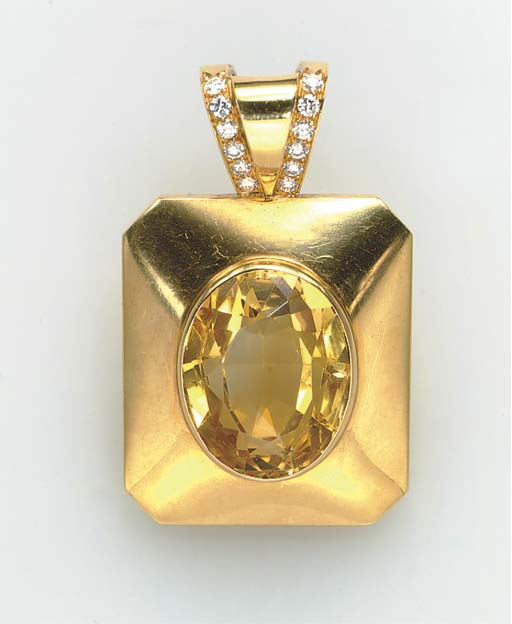 A CITRINE, DIAMOND AND GOLD PE