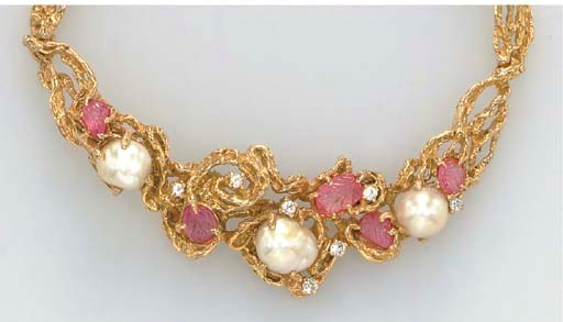 A CARVED RUBY, CULTURED PEARL,