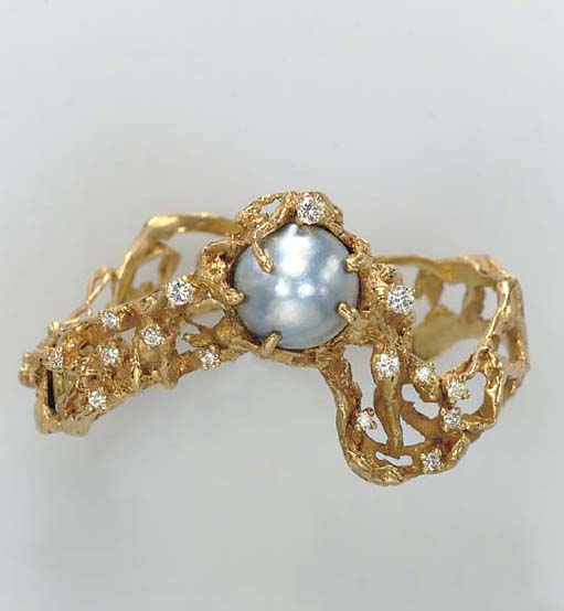 A MABE PEARL, DIAMOND AND 18K