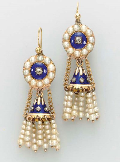 A PAIR OF PEARL, ENAMEL AND DI