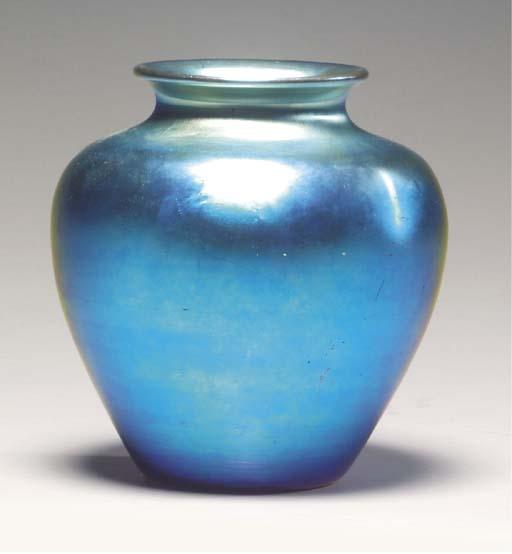 A STEUBEN BLUE AURENE GLASS VA