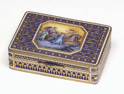 TWO FRENCH ENAMEL SNUFF BOXES,