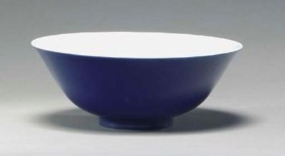A CHINESE PORCELAIN BLUE-GLAZE