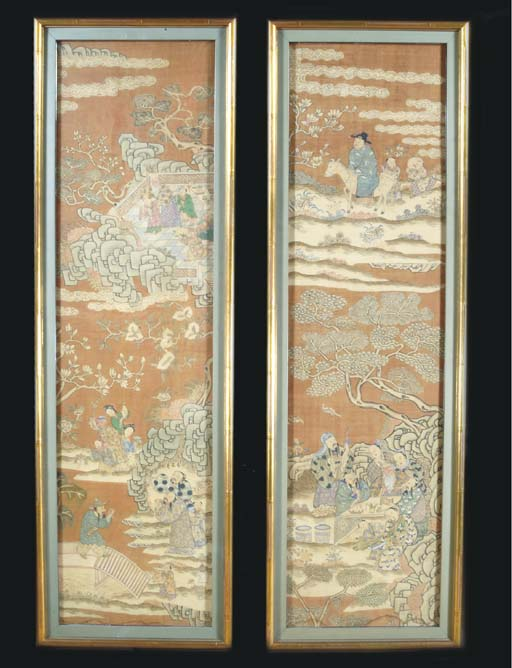 A PAIR OF CHINESE PAINTED AND