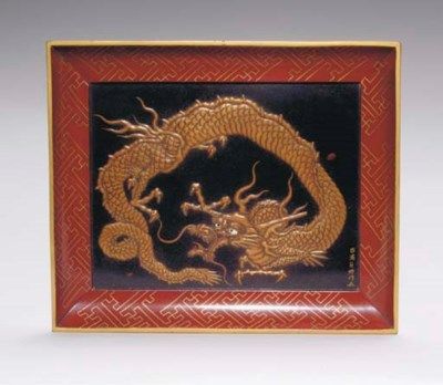 A JAPANESE LACQUER TRAY BY KOM