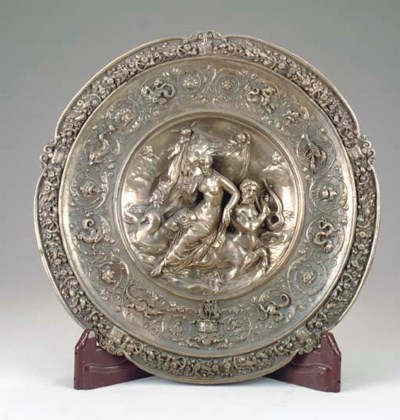 A BAROQUE STYLE WHITE METAL CH