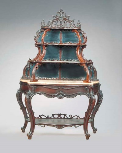 A ROCOCO REVIVAL CARVED WALNUT