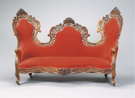 A ROCOCO REVIVAL CARVED AND PA