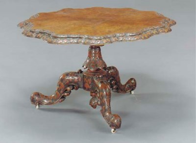 A VICTORIAN CARVED BURL WALNUT