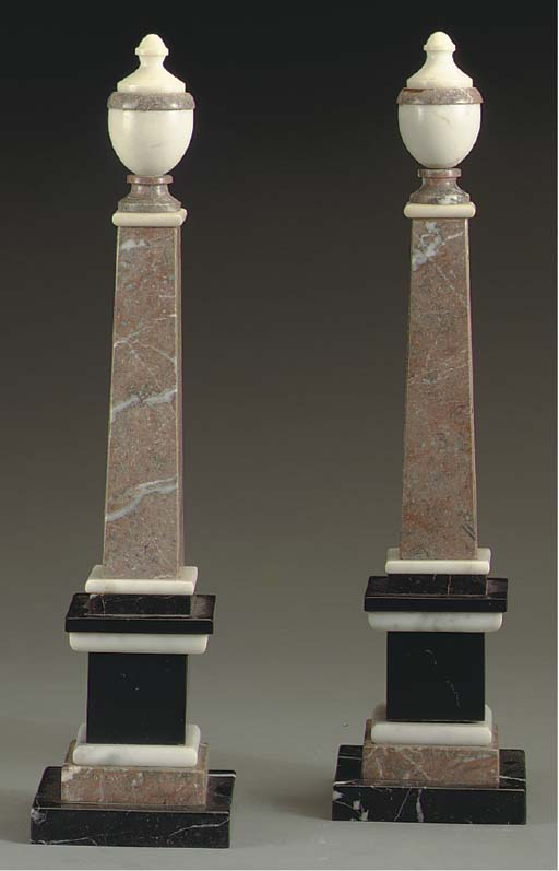 A PAIR OF MIXED MARBLE OBELISK