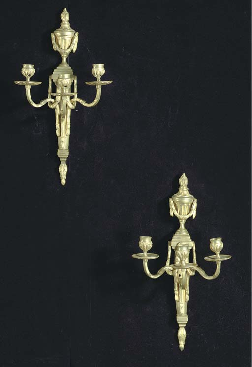 A PAIR OF LOUIS XVI GILT-BRONZ