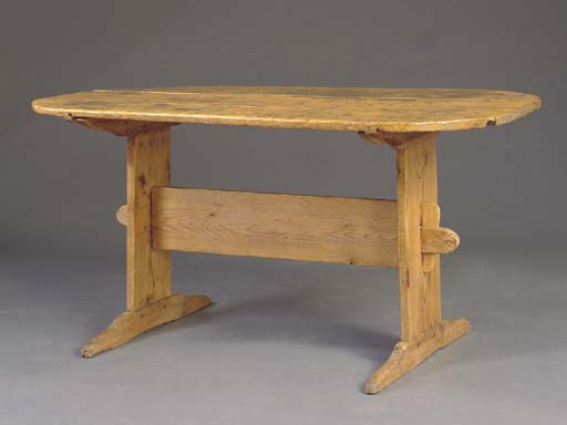 A PINE TRESTLE TABLE,