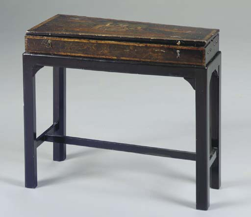 A LACQUER BOX ON LATER STAND