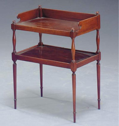 AN EDWARDIAN MAHOGANY TWO-TIER