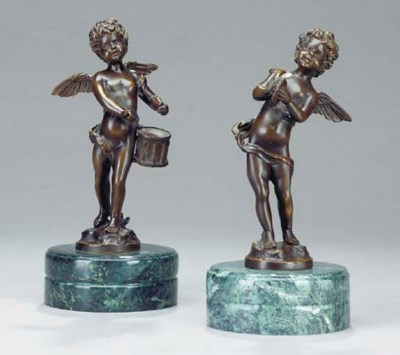 A PAIR OF BRONZE FIGURES OF PU