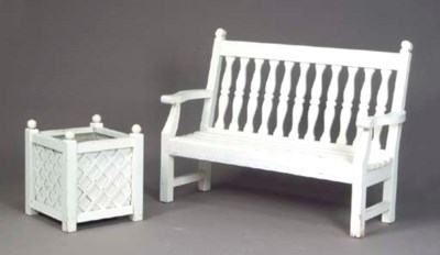 A WHITE-PAINTED TEAK GARDEN BE