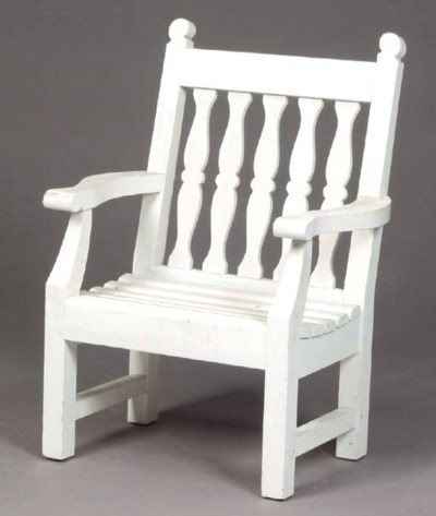 A PAIR OF WHITE-PAINTED TEAK G