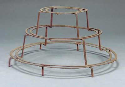 A WROUGHT IRON PLANT STAND,