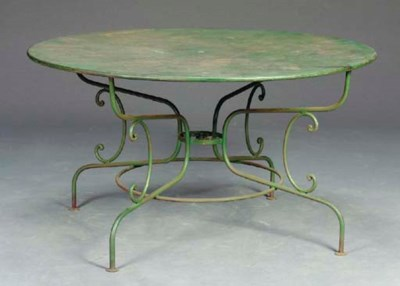A WROUGHT IRON GREEN-PAINTED T