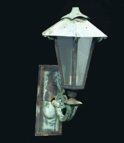 A PAIR OF PATINATED-METAL SING