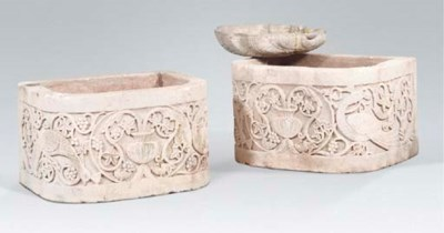A PAIR OF LIMESTONE TROUGHS TO