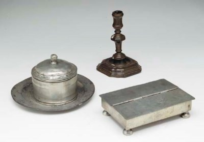 A GROUP OF ENGLISH PEWTER TABL