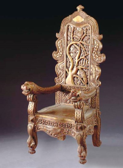 AN ASIAN CARVED HARDWOOD AND G