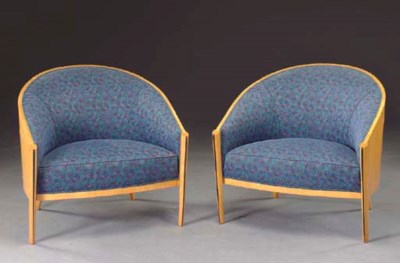 A PAIR OF ART DECO STYLE SATIN