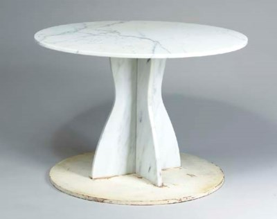 A WHITE MARBLE PEDESTAL TABLE,