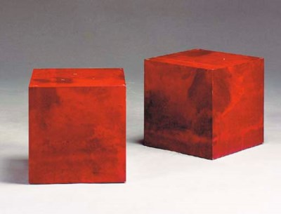 A PAIR OF WOOD AND LACQUERED F
