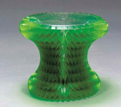 A CLEAR AND GREEN PLASTIC 'GEL