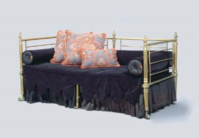 A LOUIS PHILIPPE BRASS DAYBED