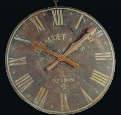 A FRENCH PAINTED METAL CLOCK F