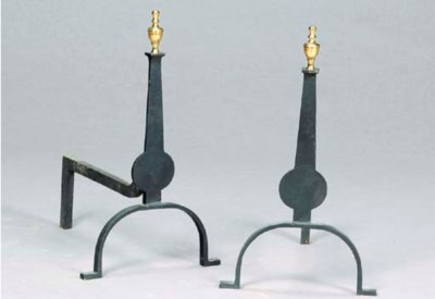 A PAIR OF IRON AND BRASS ANDIR