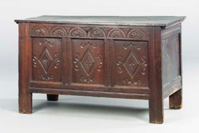 AN ENGLISH JOINED OAK COFFER,