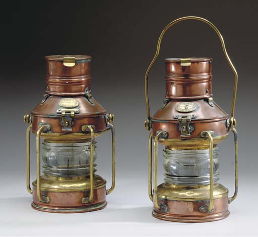 A Pair of Brass and Copper lan