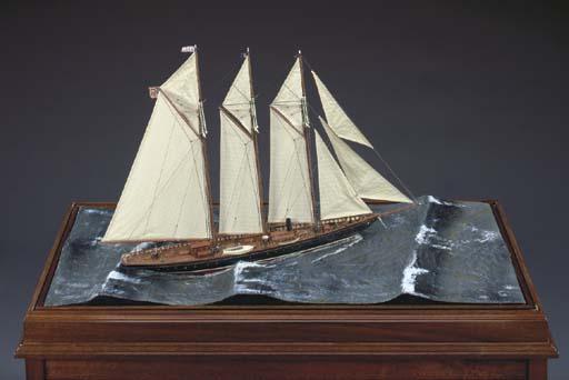 A diorama of the schooner yach