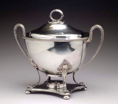 A GEORGE III STYLE SILVER-PLAT
