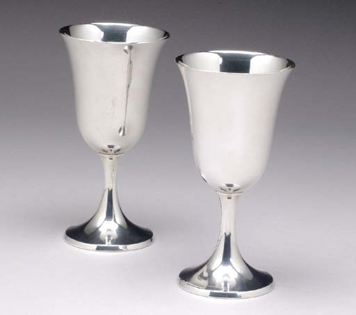 EIGHT AMERICAN SILVER GOBLETS