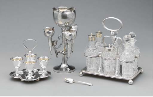 A GROUP OF SILVER-PLATED AND C