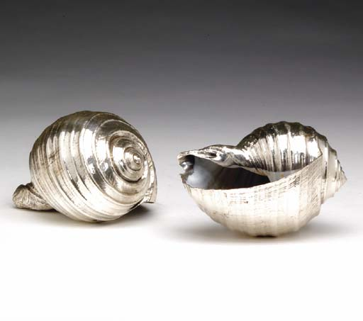 A PAIR OF SILVER-PLATED SEASHE