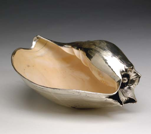 A SILVER-PLATED SEASHELL,
