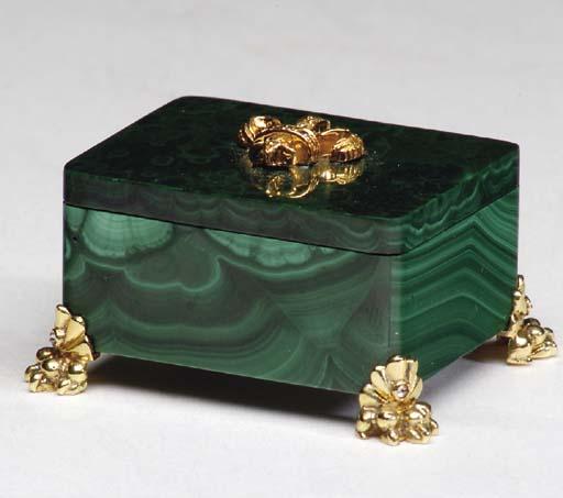 A MINIATURE MALACHITE BOX,